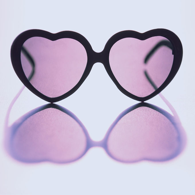 Rose-colored heart-shaped glasses