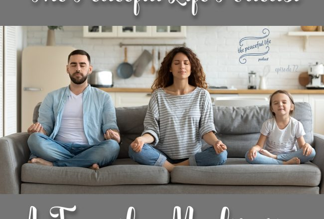 Man, Woman, and Child Meditating on a Sofa